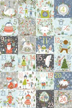 Advent calendar illustrations by Flora Waycott Noel Christmas, Christmas Countdown, Winter Christmas, Vintage Christmas, Christmas Crafts, Christmas Decorations, Illustration Noel, Christmas Illustration, Illustrations