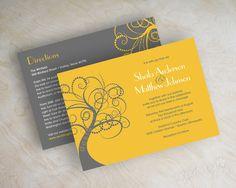 Yellow and gray modern tree wedding invitations, wedding invites www.appleberryink.com