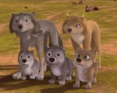 Humphrey, Kate, Runt (far bottom left),Stinky (between Kate and Humphrey), and Claudette (far bottom right) One Big Happy Wolf Family <3