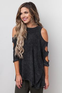 Oversized Acid Wash Cutout Top