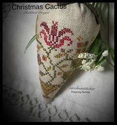 Let's see if this larger post will work. Blackbird Designs~ Christmas Cactus Thanks for sticki. Cross Stitch Love, Cross Stitch Finishing, Cross Stitch Designs, Christmas Cactus, Christmas Cross, Rear View Mirror Accessories, Blackbird Designs, Little Stitch, Sewing Accessories