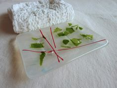 Glass Soap Dish in Festive Holiday colors