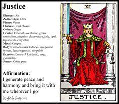 Holistic Tarot Correspondences for Justice