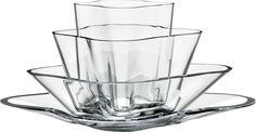 Alvar Aalto Iittala Aalto-flower (kukka) vase 180 x 360 mm, clear glass Finland