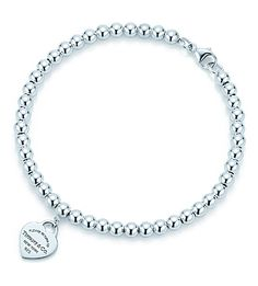 TIFFANY & CO Return to Tiffany™ mini heart tag in sterling silver on a bead bracelet