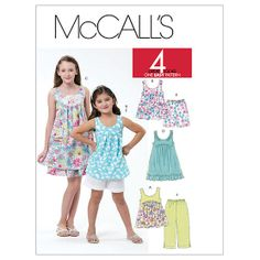kiddo will love these!  Children's/Girls' Tops, Dresses, Shorts and Capri Pants-7-8-10-12-14 Pattern at Joann.com