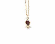 Diamond pendant Garnet pendant Diamond necklace Garnet and Garnet Pendant, Garnet Necklace, Pendant Set, Diamond Pendant, Gold Necklace, Pendant Necklace, 4 Diamonds, Quality Diamonds