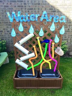 Outdoor Water Area Garden Ideas For Nursery Garden Great water play for the outside environment Outdoor Learning Spaces, Kids Outdoor Play, Outdoor Play Areas, Kids Play Area, Backyard For Kids, Eyfs Outdoor Area Ideas, Natural Playground, Outdoor Playground, Outdoor Nursery
