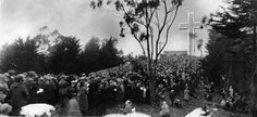 Easter service on top of Mt. Davidson (1930) Mt. Davidson, named after charter member of the Sierra Club George Davidson, was originally part of Adolph Sutro's land, and was sold to Sutro's appraiser A.S. Baldwin in 1911. The first cross on the site was linked to Grace Cathedral, who erected a 40ft temporary wood cross in 1923. A few more wood crosses were built in the next few years, during which time the top of Mt. Davidson was purchased by the city of San Francisco to be used as a park.