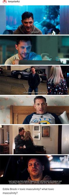We need more characters in movies like Eddie Brock, who isn't afraid to show emotions and feelings<<< seriously dude. The only bit of toxic masculinity in the movie was from Venom when he called Eddie a pussy for not jumping out the window. Marvel Venom, Marvel Dc Comics, Dc Memes, Marvel Memes, Eddie Brock Venom, Marvel Cinematic Universe, Dc Universe, Tom Hardy, Lounge