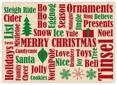 Many Christmas Words - Christmas Cards from CardsDirect