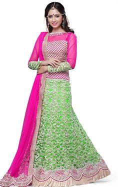 Picture of Divine Lime Green Wedding Lehenga Choli