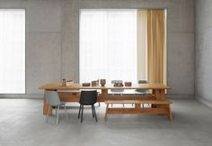 FAYLAND Table and FAWLEY Bench (David Chipperfield, 2015), and HOUDINI (Stefan Diez, 2009), all made in Germany by e15 and available at Centro.