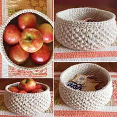 These crocheted baskets have so many uses. This one's made of a cotton twine for a great look. Round natural cotton twine crochet basket-cotton bathroom nursery storage-storage bin-gift basket-crochet bin-crochet bowl-handmade.