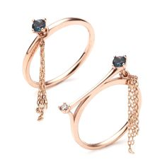 14k 센서빌리티 스틱태슬 반지-2type(천연석&다이아몬드)