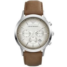 Emporio Armani Leather Strap Watch, In Silver Armani Models, Emporio Armani Mens Watches, Mens Watch Brands, Discount Watches, Best Watches For Men, Mens Watches Leather, Fashion Moda, Tan Leather, Smooth Leather