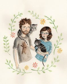 Custom Illustrated Couple Portrait par ElisabethMcNair sur Etsy, $375.00