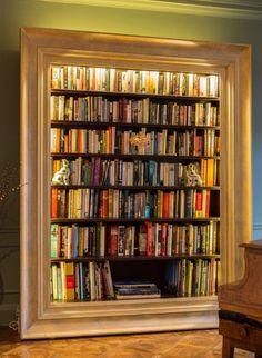 Bespoke framed bookcase.<<<so darn cool. I love it!
