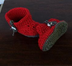 Baby Booties Boots Handmade Gift Red Gray Photo by MimisPearTree
