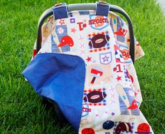 Baby Car Seat Cover for Boy: Sports Print Minky