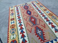 """Large Kilim Rug,Vintage Home and Living,Turkish Rug,4'11""""x8',Home Decor,Woven Kilim Rug,Interior Design,Bohemian,SALE,Ready to Use, by OneAndOnlyShop on Etsy"""