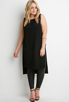 Dropped-Hem High-Slit Tunic | Forever 21 PLUS - 2000156572