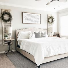 Farmhouse master bedroom, upholstered bed with white duvet, chippy shutters flank the bed with French style end table nightstands. Hobby Lobby Bedroom, Hobby Lobby Decor, Staircase Makeover, White Duvet, Farmhouse Master Bedroom, Master Bedrooms, Master Bath, Thing 1, Girl House