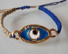 Evil Eye Bracelet, Women Jewelry, Enamel Blue Eye, Woven Bracelet, Macrame Bracelet, Evil Eye Charm, Braided Bracelet, Gold, Blue