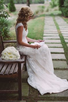 Cheap wedding dress halter lace, Buy Quality wedding dresses lace back directly from China wedding dress linen Suppliers: 2015 Modest Lace Wedding Dress With Capped Sleeves V-neck Hollow Back Chapel Train China Wedding Dresses vestido de noiv