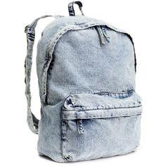 H&M Backpack (77 BRL) ❤ liked on Polyvore featuring bags, backpacks, accessories, bolsas, bolsos, light denim blue, h&m bags, blue backpack, knapsack bag and zip bag