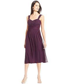 R&M Richards Sequin-Lace Chiffon Dress and Jacket - Dresses - Women - Macy's