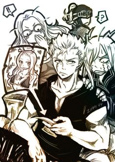 Because Fairy Tail: I ship semi semi semi cannon Miraxus. That's Mira and Laxus.