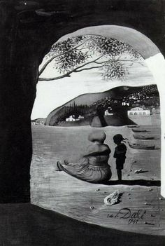 Salvador Dali- 1941 Surrealism- In this form of art, everyday objects are depicted in unusual and interesting ways. Because of the way they are depicted, a new image or idea and be formed. In this case Dali uses a woman and child on the shore, to create the image of a woman's face, with unusual objects creating the features of the face. For instance, the woman's sitting posture create the shape of the chin, while the white town buildings create the eyes.