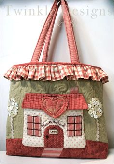 Via Twinkle Patchwork Patchwork Bags, Quilted Bag, Bag Sewing, Craft Bags, Sewing Appliques, Purse Patterns, Fabric Bags, Cute Bags, Applique Quilts