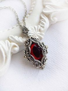 Medieval red crystal necklace gothic fantasy victorian necklace ruby crystal everyday red necklace bridesmaid necklace baroque necklace Medieval vision red oval crystal necklace by MidnightVision Fantasy Jewelry, Gothic Jewelry, Boho Jewelry, Jewelry Accessories, Jewelry Design, Gothic Clothing, Victorian Jewelry, Ruby Necklace, Ruby Jewelry