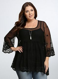 Embroidered Mesh Bell Sleeve Tunic Top, DEEP BLACK