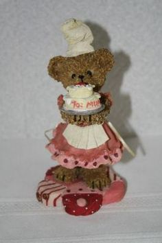 "2002 Home Interiors Kuddles Korner ""May"" Birthday Bear 5"" x 2.5""D figurine #11832 $8.50"