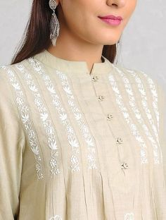 Beige-White Chikankari Handloom Khadi Kurta by Jaypore Embroidery On Kurtis, Kurti Embroidery Design, Embroidery Neck Designs, Embroidery Fashion, Embroidery Dress, Embroidered Dresses, Neckline Designs, Dress Neck Designs, Stylish Dress Designs