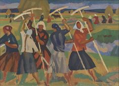 Ivanov, Victor Ivanovich  1924 -  Women Harvesting Oil on board  53.7 x 74cm 1965 - See more at: http://www.russianartdealer.com/galleries/russian-art#sthash.xO4NU9NT.dpuf
