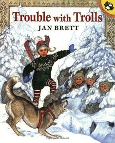 "Trouble with Trolls by Jan Brett ""Treva's trouble with trolls begins when she climbs Mount Baldy with her dog Tuffi. The trolls who live there long for a dog, and they try to kidnap him. But Treva is brave and quick-thinking. She outwits one troll after another until she reaches the very top of the mountain, where five trolls are waiting--and they want her dog! From underground to mountain peak, Jan Brett's story is filled with adventure and eye-catching detail."""