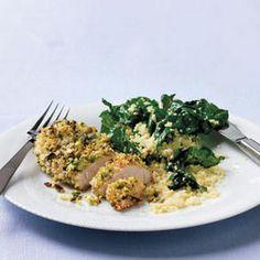 Pistachio Chicken with Couscous & Greens Recipe @keyingredient #chicken #pie #bread