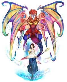 Yuna & Valefor - FFX. Love the colours in Valefor.