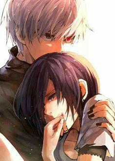 Kaneki, white hair, ghoul, Touka, crying, sad; Tokyo Ghoul