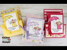 Stampin' Up! Under My Umbrella Double Z Fun Fold Card Tutorial with Kitchen Table Stamper Bubble Umbrella, Under My Umbrella, Fun Fold Cards, Folded Cards, Umbrella Cards, Chalk Markers, Stamping Up Cards, Card Tutorials, Paper Pumpkin