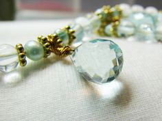 Aquamarine and freshwater pearl necklace Gold by ShopPretties, $50.00