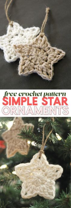 Easy Crochet simple crochet star - christmas ornament - free crochet pattern - These simple Christmas crochet stars are a free pattern that makes a fun and easy holiday project! Crochet Christmas Decorations, Crochet Ornaments, Christmas Diy, Christmas Patterns, Crochet Ornament Patterns, Simple Christmas Crafts, Crochet Snowflake Pattern, Crochet Christmas Gifts, Crochet Decoration