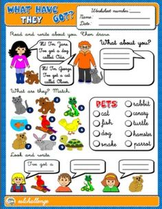 HAVE GOT AND PETS WORKSHEET