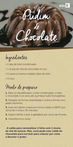 Um pudim de chocolate é algo que você fará para sua família e conquistará todos pelo estômago! Para outras deliciosas receitas com chocolate, confira as receitas eduK: http://scup.it/dqkx