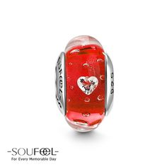 Soufeel Burning Love Heart-shaped CZ Stone Murano Glass Bead,for every memorable day.Red reveals the noble temperament.