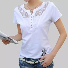 Buy Summer T-shirt Women Casual Lady Top Tees Cotton White Tshirt Female Brand Clothing T Shirt Top Tee Plus SizePlus Size 2017 New High Quality Summer Butterfly Printed Women T shirt Sexy Lace Patchwork Hollow Out Lady Tops Tees t-shirt femmes casua Sexy Shirts, Shirts & Tops, T Shirts For Women, Clothes For Women, Blouse Styles, Blouse Designs, Summer Tshirts, Plus Size Blouses, Latest Fashion For Women